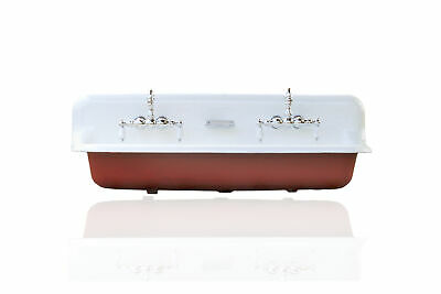 Lg 4' Trough Sink Wall Mount Cast Iron High Back Two Faucet Farm Sink Set, Red