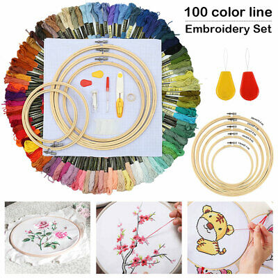 Full Embroidery Sewing Cross Stitch kit Threads W Hoop Ring Set Sewing Kits.