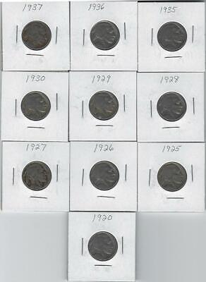 Group Of (10) Buffalo Nickels All Different Years 1920-37