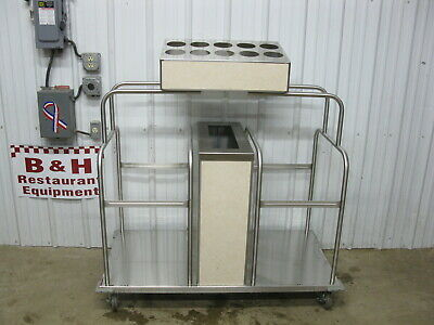 Low Temp Industries Stainless Mobile Tray Silverware Stand Platform Dispenser