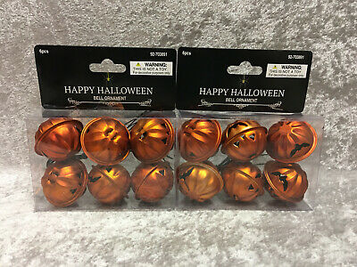 TWO Packages Halloween Bell Ornaments Orange