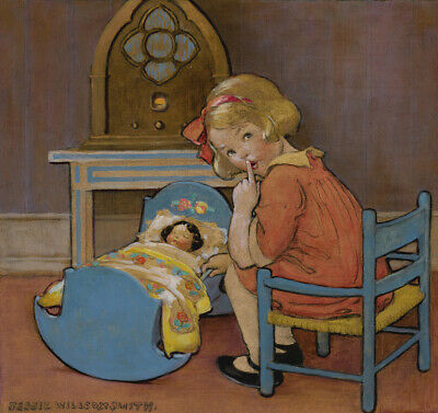 """by Jessie Wilcox Smith  20/"""" Paper Print  Repro Looking at the Moon/'s.."""