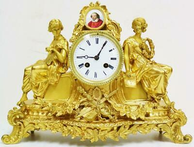Antique French Sevres Shakespeare Porcelain Mantel Clock 8 Day Bronze Ormolu