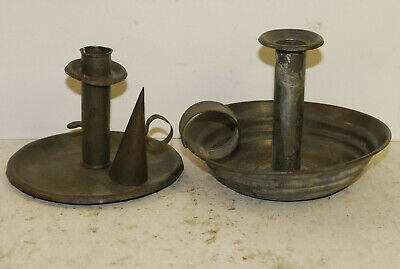 2 tin candle chamber stands and a snuffer, working ejectors,American, circa 1850