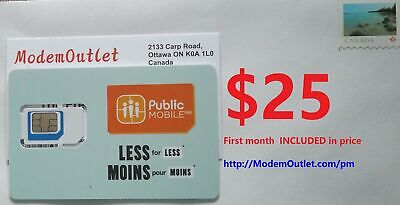 Pre-activated Public Mobile SIM card with  first month $25 plan included - Unlim