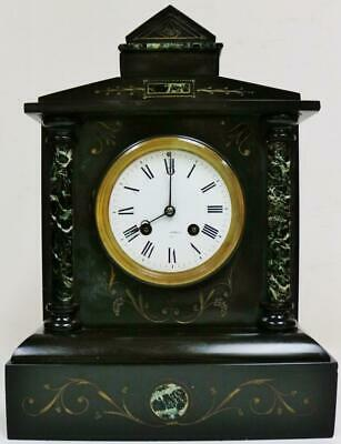 Antique French 8 Day Slate & Marble Architectural Bell Striking Mantel Clock
