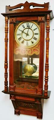 Fine Antique Carved Wall Clock 8 Day Striking Mahogany Regulator Drop Dial Clock