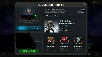 Marvel Contest of Champions Account MCOC 6 GOD TIER 5/65