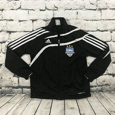 Adidas Boy's Track Jacket Full Zip Black Soccer Washington Size Small