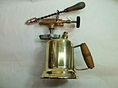 Vintage Plumbers Brass & Bronze Blow Torch with Soldering Iron Nice Display Item