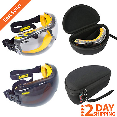 Anti-Fog Dual Mold Safety Goggles Clear Or Smoke Coated Lens Hard Travel Case