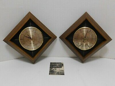 PAIR Vtg AIRGUIDE CLOCK WEATHER STATION Wall BAROMETER Thermometer Chicago