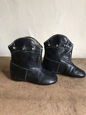 Sweet Old Pair Black Leather Child's Boots Star Cutout Textile AAFA