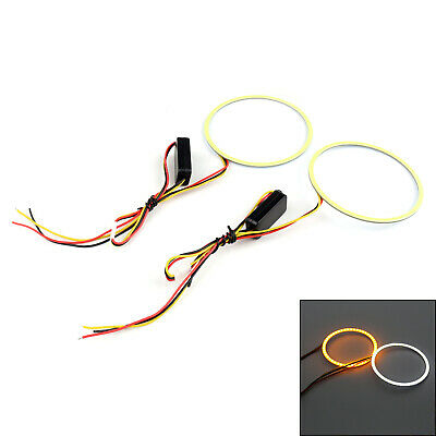 1 Pair 100MM Dual-Color COB LED Angel Eyes COVER Ring Light Bulb white & Yellow^
