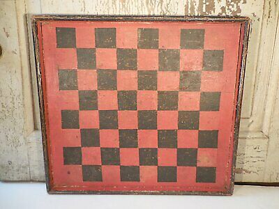 AAFA Early Painted Pine Gameboard Antique Checkers Board Original Paint