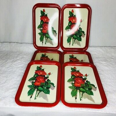 Lot of 6 Vintage Metal TV Serving Trays Red Roses Collectible Mid Century