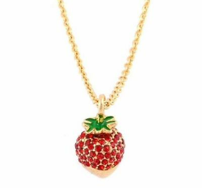 Kate Spade Chocolate Dipped Strawberry Necklace NWT Sweet Desserts!