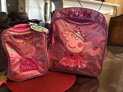 """NWT~ Peppa Pig Pink 16"""" inches Large Backpack & Lunch Box Licensed~ Free Shippin"""