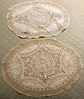 Pair Antique Handmade French Oval Doily - Normandy Lace Valenciennes & Muslin