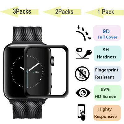 3 PCS Screen Protector For Apple Watch 5/4/3/2 Curved Tempered Glass FULL COVER