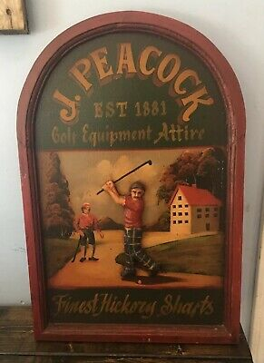 Classic J. Peacock Finest Hickory Shafts Golf Equipment Sign Man Cave Tavern Bar