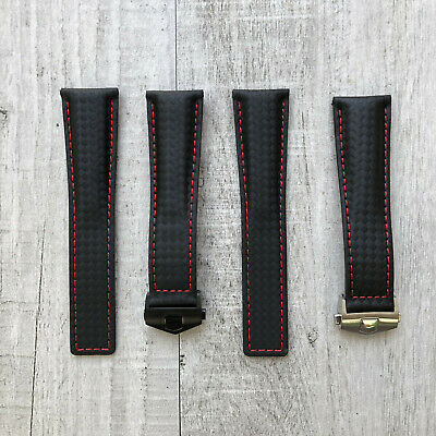 22mm Black/Red Stitching Genuine Carbon/Leather Strap/Band fit Tag Heuer Watch