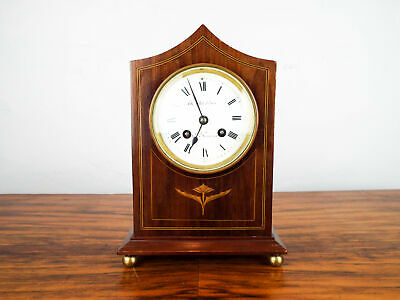 Vintage 1900s Inlaid Wooden Mantle Clock The White House San Francisco Vincent