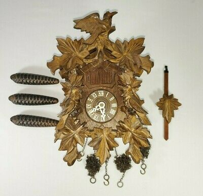 Cuckoo Clock Edelweiss 2866 Lador Switzerland  Weights Musical Vintage