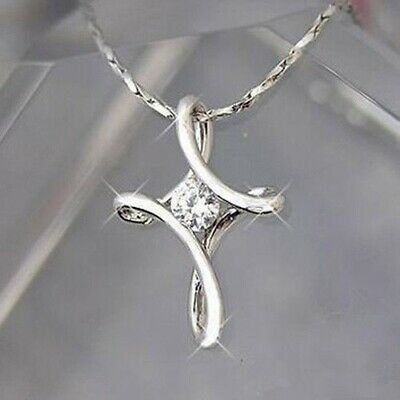 Exquisite Infinity Cross 925 Silver Pendant Choker Women Necklace Bridal Jewelry