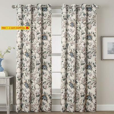H.Versailtex Thermal Insulated Grommet Blackout Curtains For Bedroom Floral Prin