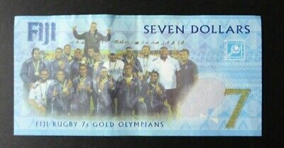 FIJI -Seven Dollar $7 Rugby Sevens Commemorative Bank Note 2017