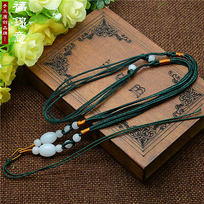 1Pcs Natural JADE beads Green Circle string cord rope for pendant Necklace A208
