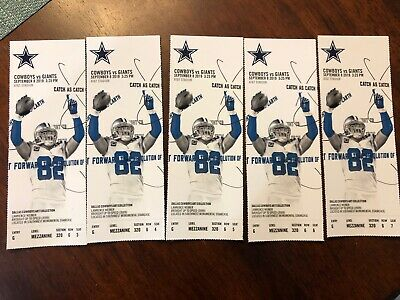 5 Dallas Cowboys Tickets  Cowboys vs Giants Sept. 8,2019