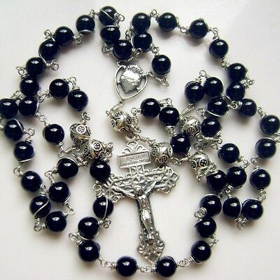 black AGATE  Sterling Silver Beads Mens Rosary catholic Cross NECKLACE Box