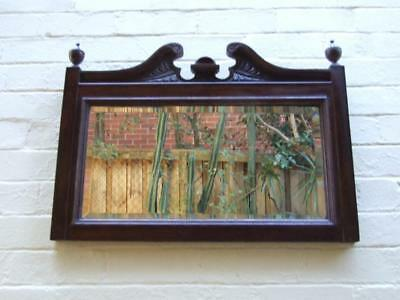 ANTIQUE EDWARDIAN WALNUT CARVED WOODEN WALL MIRROR  BEVELED EDGE Vnt.1900's