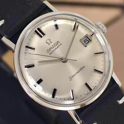 VINTAGE OMEGA Seamaster AUTOMATIC 24 J DATE SILVER DIAL ANALOG DRESS MEN'S WATCH