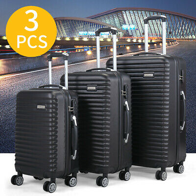 "3 PCS Set Luggage Travel Bag Carry on Trolley Suitcase 22"" 27"" 30"" w/Cover Black"