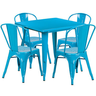 31.5'' Industrial Crystal Blue Metal Outdoor Restaurant Table Set w/4 Chairs
