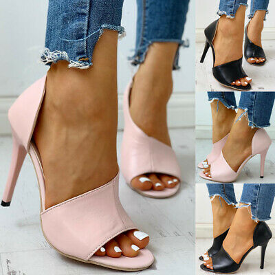 Womens Ladies Stiletto High Heels Sandals Bridal Party Peep Toe Ankle Shoes Size