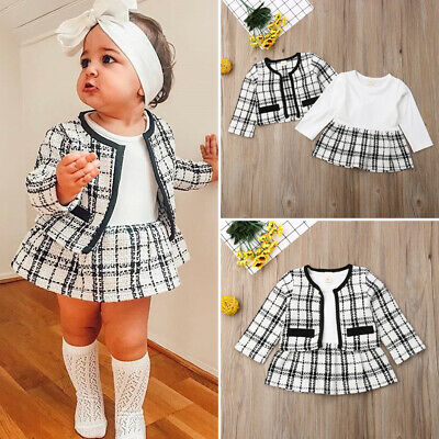 UK Toddler Baby Girls Winter Clothes Plaid Coat Tops+Tutu Dress Formal Outfits