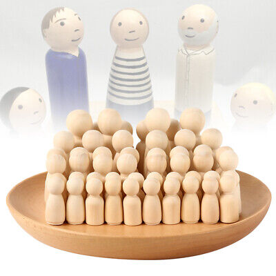 50/100X DIY Wooden Peg Doll Unfinished Family People Wedding Craft Man/Lady/Kids