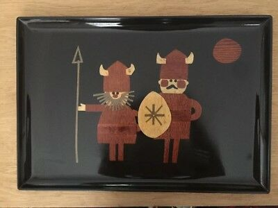 MCM Couroc of Monteray, California Lacquer Tray Timber Inlaid Viking Figures