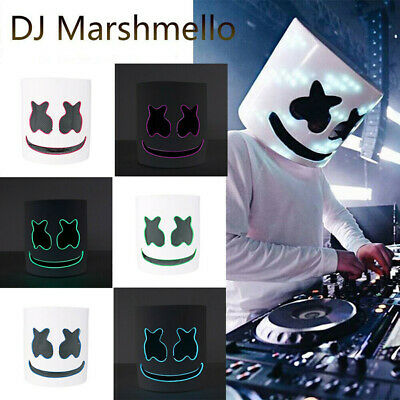 MarshMello DJ Mask Full Head Helmet LED Cosplay Mask Bar Music Props Marshmallow