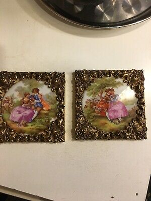 Vintage Limoges French Porcelain Fragonard Lovers Scenes X2 Round In Brass Frame