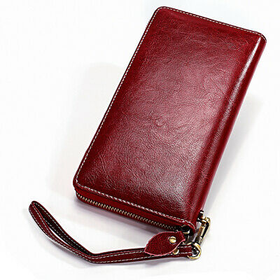 1PC Wine Red Womens Real Leather Long Wallet RFID Blocking Large Card Cash Purse