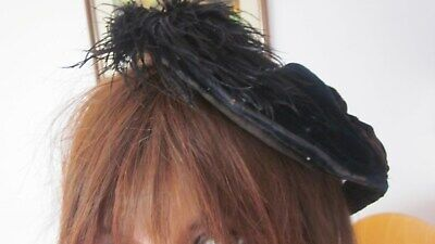 Victorian/Edwardian black velvet tilt hat with ostrich feather trim,bow and bead