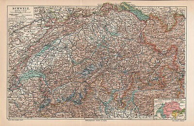 Antique map. SWITZERLAND. 1905