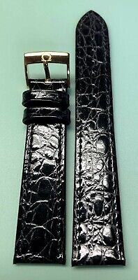 Genuine Omega Black Leather Watch Band - 18mm