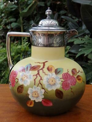 ANTIQUE Ceramic CLARET JUG Water Pitcher SILVER PLATE Lid Hand Painted RASPBERRY