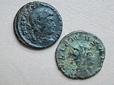 2 ancient unresearched roman bronze coins metal detecting detector finds